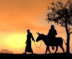 Joseph leading Mary